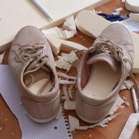 Schuhspanner im Einsatz